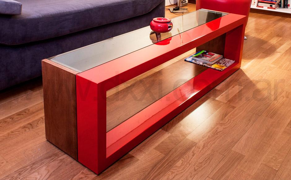 Mesa ratona laqueada con vidrio d o f brica dxxi for Mesas con vidrio y madera