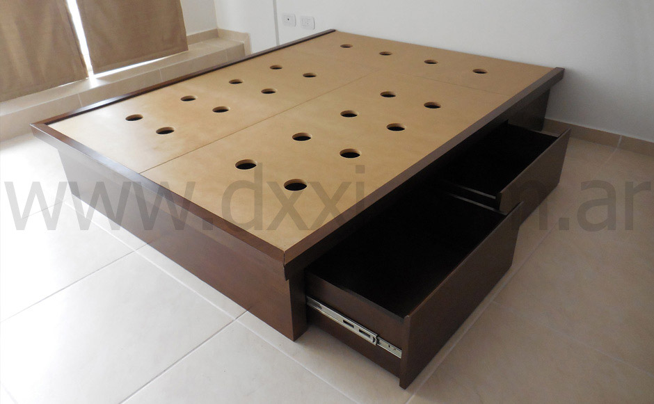 Cama con cajones enchapada f brica dxxi for Fabrica de muebles en buenos aires capital federal