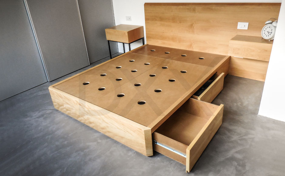Cama con cajones nova enchapada dxxi for Mueble cama con cajones