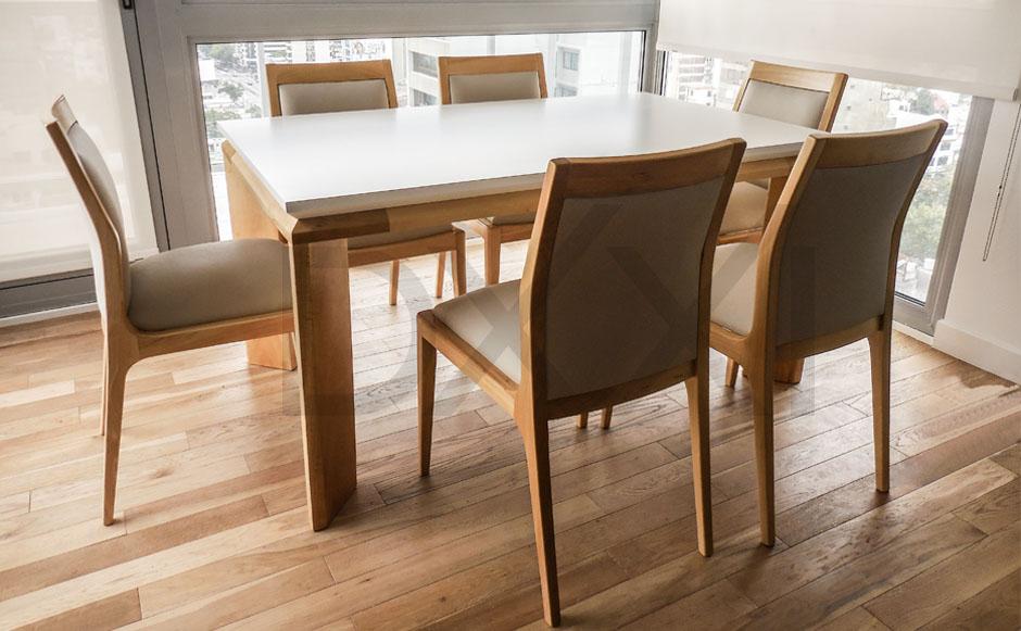 Mesa comedor olsen fija o extensible madera maciza y mdf for Mesas de comedor extensibles economicas