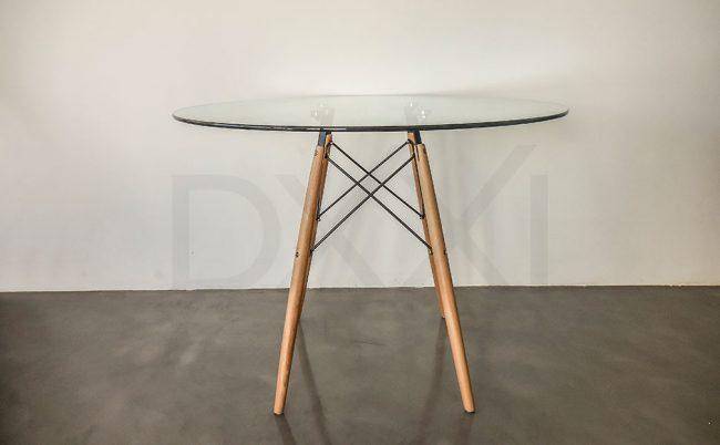 Mesa Eames Redonda con tapa de vidrio 100cm